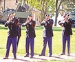 Soldiers perform a three-round volley Sept. 11 during a Sept. 11, 2001, commemoration ceremony at Fort Riley.