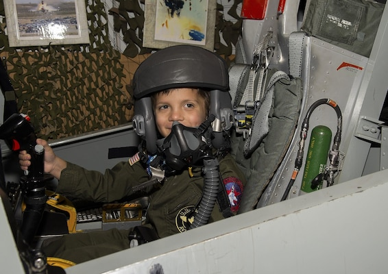 Jack Kirkbride was honored as an A10 Thunderbolt II attack aircraft Pilot for a Day at the Warfield Air National Guard Base in Middle River, Maryland, Sept. 17, 2016. The goal of this service wide program is to allow military children and civilians of all ages who suffer from serious or chronic medical conditions to visit an installation for the day.