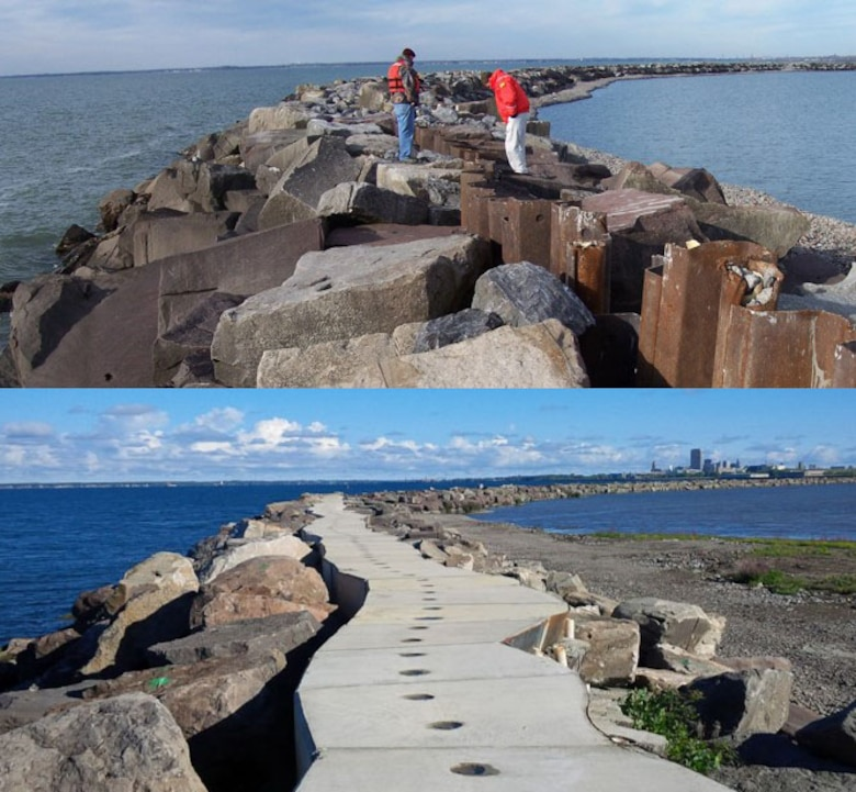 Repairs to Buffalo CDF#4 (bottom) after severe wave action damaged the lakeside dike (top), September 2016.