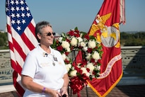 Jana Rigsby is honored at a wreath-laying ceremony in Nashville, Tenn., Sept. 7, 2016. Rigsby is a gold star mother who lost her son Lance Cpl. Tyler R. Overstreet in 2006. Marine Corps photo by Lance Cpl. Timothy Smithers