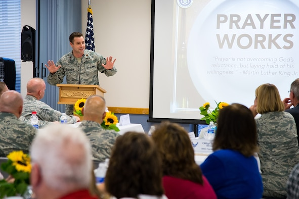 Chaplain (Maj.) Lukus Counterman, a reservist assigned to the base chapel, speaks during a Spiritual Maintenance breakfast at Hill Air Force Base, Utah, Sept. 22, 2016. Dozens of Team Hill military and civilian personnel gathered at the base chapel for fellowship, breakfast and spiritual maintenance. (U.S. Air Force photo by R. Nial Bradshaw)