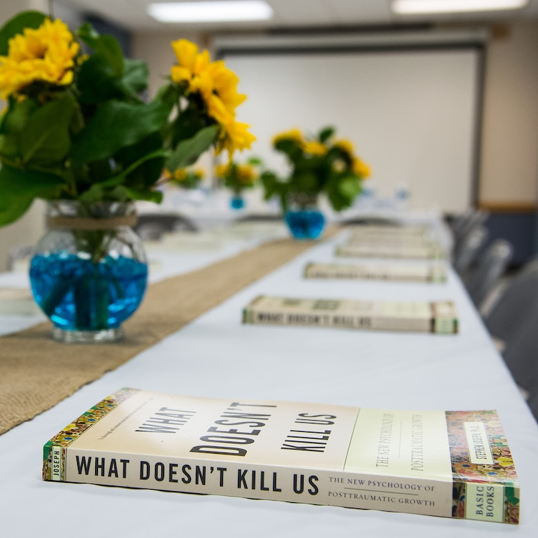 resiliency-themed books sit atop a table prior to the Spiritual Maintenance Breakfast at Hill Air Force Base, Utah, Sept. 22, 2016. Dozens of Team Hill military and civilian personnel gathered at the base chapel for fellowship, breakfast and spiritual maintenance. (U.S. Air Force photo by R. Nial Bradshaw)