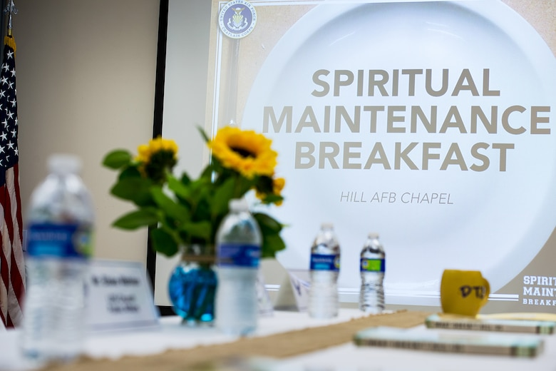 Fellowship Hall at the Hill Air Force Base Chapel is ready to receive Spiritual Maintenance Breakfast attendees, Sept. 22, 2016. (U.S. Air Force photo by R. Nial Bradshaw)
