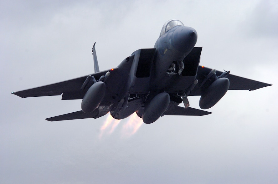 An F-15A from the 123 Fighter Squadron, 142 Fighter Wing, takes off from Portland Air National Guard Base, Portland, Oregon, in 2006 (U.S. Air Force photo by John Hughel)