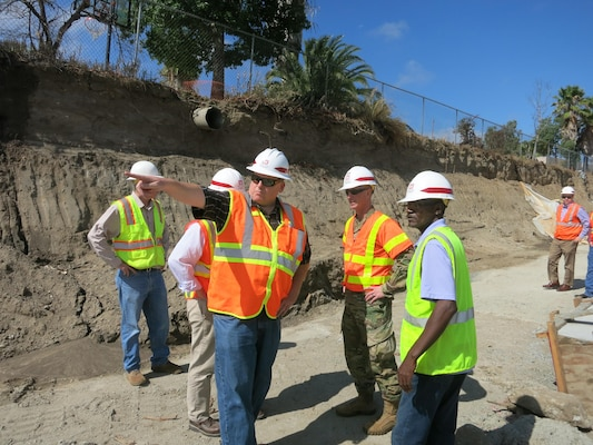 Resident Engineer Pete Gauer describes ongoing flood risk reduction work in Old Town Temecula, California, during a Sept. 22 visit to the to site by Los Angeles District Commander Col. Kirk Gibbs.
