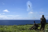 Marines fire an 81 mm mortar during training at Farallon de Medinilla Range, Northern Mariana Islands, Sept. 16, 2016. Marine Corps photo by Staff Sgt. T.T. Parish