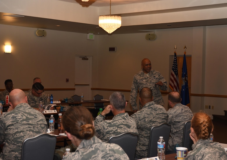 Maj. Gen. Anthony Cotton, 20th Air Force and Task Force 214 commander, speaks to 20th AF leadership during the fall 20th AF Senior Leadership Conference at F.E. Warren Air Force Base, Wyo., Sept. 20, 2016. Topics included efforts to improve mission execution and care for Airmen, strategic planning and ICBM culture. The conference gave 20th AF leadership an opportunity to work together to continually improve mission performance.