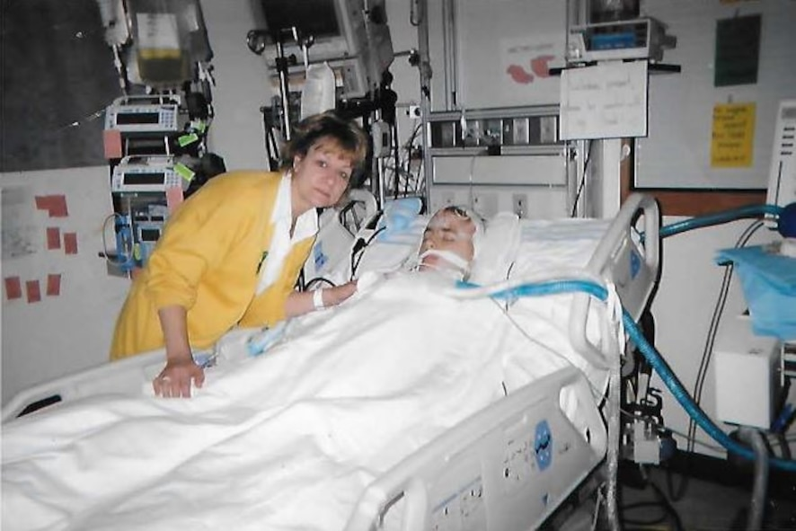 Linda Roose (left) and Josh Roose, family members of Master Sgt. Brittany Jones, 4th Fighter Wing public affairs NCO-in-charge of command information, are photographed at Children's Hospital in Columbus, Ohio in May 2005. Josh was shot in the head and nearly died from the incident. (Courtesy photo)