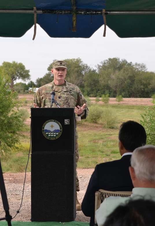 ALBUQUERQUE, N.M. – Albuquerque District commander Lt. Col. James Booth speaks at the ribbon cutting ceremony celebrating the completion of the Southwest Valley Flood Damage Reduction Project, Sept. 20, 2016.
