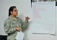 """Tech. Sgt. Nitzia Millis, NCO in charge of the CV-22 Osprey aircraft parts store for the 1st Special Operations Logistics Readiness Squadron, participates in a relationship exercise during the """"How to Not Marry a Jerk"""" class at Hurlburt Field, Fla., Sept. 22, 2016. The class focused on the importance of being selective when choosing a life partner. (U.S. Air Force photo by Senior Airman Andrea Posey)"""