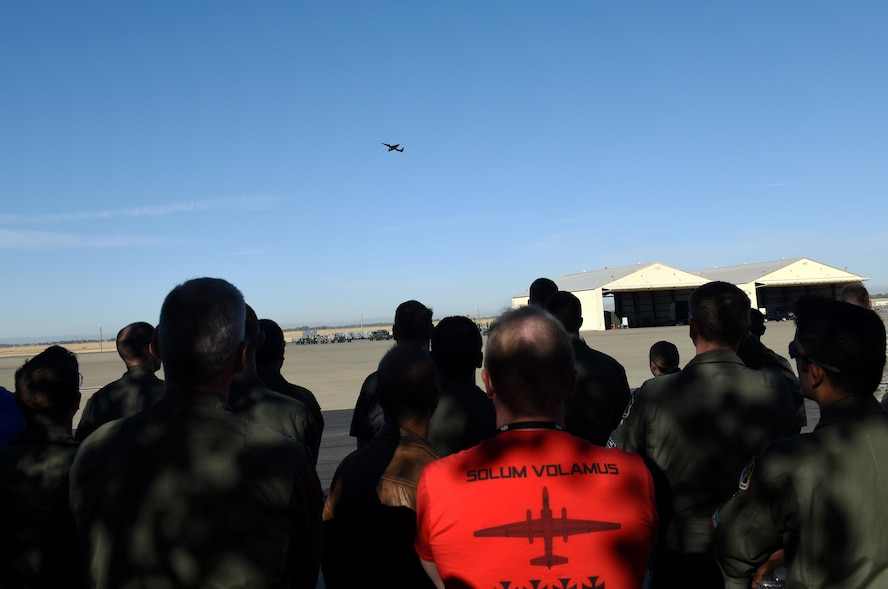 Members of Team Beale gather near the flightline to witness the return of the U-2 Dragon Lady to normal flying operations after an incident near the Sutter Buttes, Sept. 23, 2016, at Beale Air Force Base, California. The relaunch of the U-2 took place at 9:01 a.m.; the significance of the nine as the 9th Reconnaissance Wing and the one as the 1st Reconnaissance Squadron. (U.S Air Force photo/ 1st Lt. Clay Lancaster)
