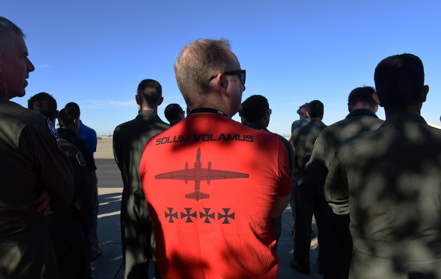 Members of Team Beale gather near the flightline to witness the return of the U-2 Dragon Lady to normal flying operations after an incident near the Sutter Buttes, Sept. 23, 2016, at Beale Air Force Base, Calif. The relaunch of the U-2 took place at 9:01 a.m.; the significance of the nine as the 9th Reconnaissance Wing and the one as the 1st Reconnaissance Squadron. (U.S Air Force photo/ 1st Lt. Clay Lancaster)