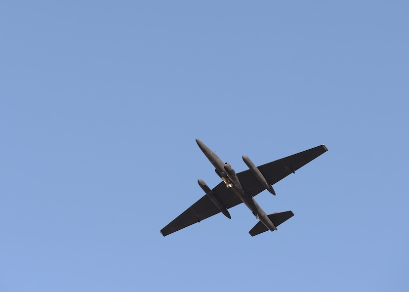 A U-2 Dragon Lady flies over Beale Air Force Base after resuming operations Sept. 23, 2016. Following a U-2 incident this week flying operations for the aircraft at Beale were put on hold while the installation responded to the incident. Global U-2 flying operations were not impacted as a result of the incident and pilots and maintainers continued to support commanders with high-altitude ISR. (U.S. Air Force photo/Airman Tristan D. Viglianco)