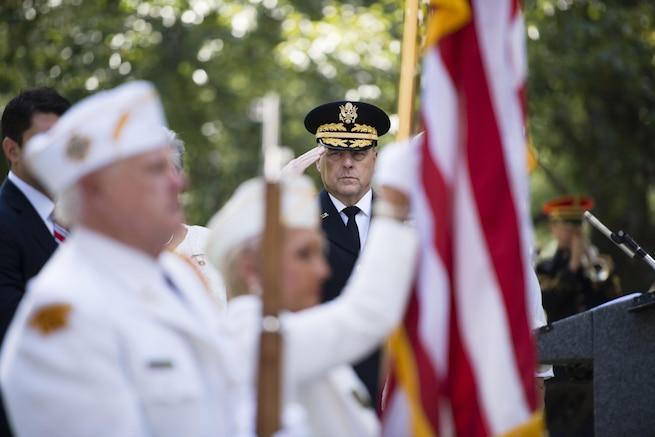 Army Chief of Staff Gen. Mark A. Milley salutes during a ceremony commemorating the 80th Gold Star Mother's Day at Arlington National Cemetery in Virginia, Sept. 25, 2016. Gold Star Mother's and Family's Day honors the families of fallen service members. Army photo by Rachel Larue