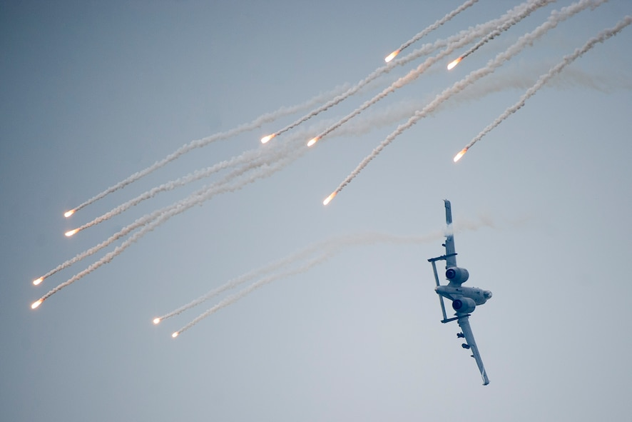 An A-10 Thunderbolt II from the 25th Fighter Squadron shoots a flare during Air Power Day 2016 on Osan Air Base, Republic of Korea, Sept. 25, 2016. The A-10 was showing off its capabilities to perform combat search and rescue missions during air show.(U.S. Air Force photo by Staff Sgt. Jonathan Steffen)
