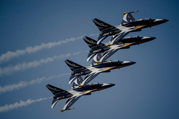 Republic of Korea air force Black Eagles fly in formation during Air Power Day 2016 on Osan Air Base, Republic of Korea, Sept. 25, 2016. Air Power Day was a two-day event that highlighted the partnership between the Republic of Korea and the U.S. military. (U.S. Air Force photo by Staff Sgt. Jonathan Steffen)