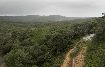 A cliff used for rappelling overlooks the Jungle Warfare Training Center Sept. 20, 2016 in Okinawa, Japan. Since 1958, the Jungle Warfare Training Center has provided terrain and climate-specific training to units serving across the Asia-Pacific region. The training area stretches over more than 17,000 acres and the courses offered reinforce service members' ability to carry out tactical operations in the jungle. This training area made up more than 17,000 acres of mountains and jungle, is the only one of its kin din the entire Department of Defense.