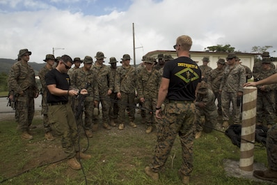 Instructors demonstrate how to set up a pulley system to retain equipment in the jungle Sept. 20, 2016, at the Jungle Warfare Training Center, Okinawa, Japan. The Jungle Warfare Training Center has provided terrain and climate-specific training to units serving across the Asia-Pacific region since 1958 and stretches over more than 17,000 acres. Training aboard the installation reinforces service members' ability to carry out tactical operations in a jungle environment.