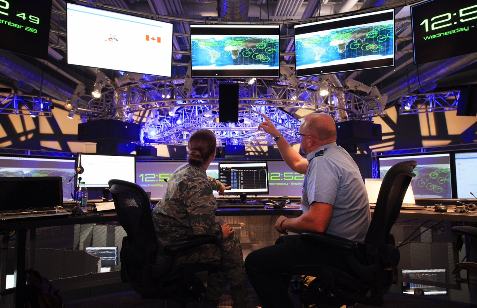 """Participants conduct simulated space operations during the third Space Situational Awareness (SSA) Tabletop Exercise (TTX)/GLOBAL SENTINEL 16 (GS-16) in Suffolk, Va., Sept. 28, 2016. The U.S. Strategic Command (USSTRATCOM)-hosted event provided an opportunity for representatives from Australia, Canada, France, Germany, Japan, the United Kingdom and commercial entities to collaborate on combined SSA operations in support of USSTRATCOM's continuing effort to build, support and sustain partnerships. """"GLOBAL SENTINEL SSA-TTX has become the premier international forum for partner and allied space integration at the tactical and operational level,"""" said Maj. Gen. Clinton E. Crosier, USSTRATCOM director of plans and policy, who attended the event. One of nine DoD unified combatant commands, USSTRATCOM has global strategic missions assigned through the Unified Command Plan that include strategic deterrence; space operations; cyberspace operations; joint electronic warfare; global strike; missile defense; intelligence, surveillance and reconnaissance; combating weapons of mass destruction; and analysis and targeting. (Courtesy photo)"""