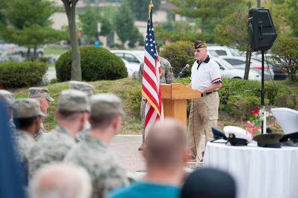 Patrick Higgins, Veterans of Foreign War Department of the Pacific, delivers remarks to a crowd during a POW/MIA memorial closing ceremony at Osan Air Base, Republic of Korea, Sept. 16, 2016. The event honors missing service members and the U.S. government's continued responsibility to locate POW/MIA service members. (U.S. Air Force photo by Staff Sgt. Jonathan Steffen)