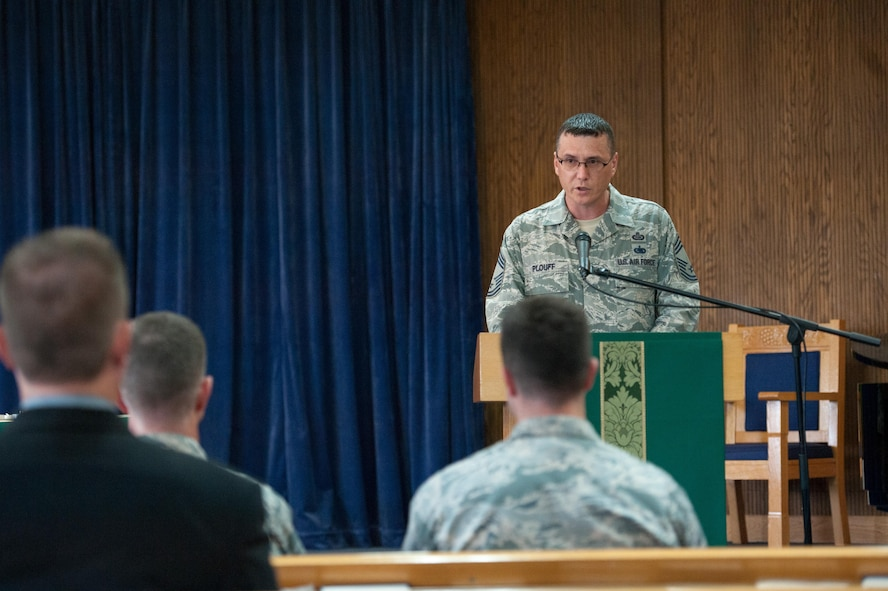 U.S. Air Force Chief Master Sgt. David Plouff, 694th Intelligence, Surveillance and Reconnaissance Group superintendent, gives a speech as guest speaker for a POW/MIA memorial service at Osan Air Base, Republic of Korea, Sept. 15, 2016. The service honored service members who are still missing in action. (U.S. Air Force photo by Staff Sgt. Jonathan Steffen)