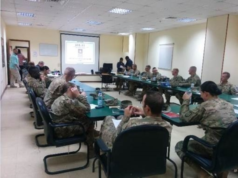 Soldiers attend an environmental officers course at Camp Buehring, Kuwait during the Summer of 2016. The course prepares the leaders to recognize and develop procedures pertaining to environmental compliance. The training is comprehensive and detailed, focusing on compliance within the requirements outlined by the EPA, Army Regulations; and Host Nation requirements.