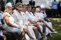 Gold Star Mothers listen as Army Chief of Staff Gen. Mark A. Milley (not pictured) offers remarks during the 80th Gold Star Mother's Day commemorative ceremony at Arlington National Cemetery in Arlington, Va., Sept. 25, 2016. Army photo by Rachel Larue