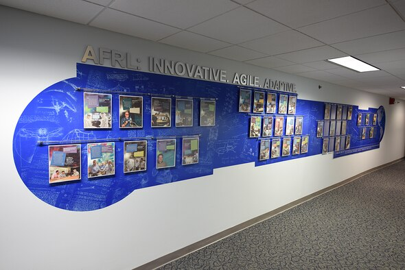 The Patent Wall on display at AFRL Headquarters recognizes the innovation of the Lab's scientists and engineers. (U.S. Air Force photo / Mikee Huber)