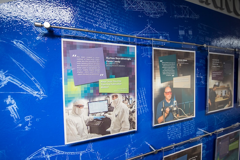 A closer look at the scientists and engineers and their technologies included on the Patent Wall at AFRL Headquarters. (U.S. Air Force photo / Mikee Huber)