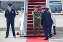 Maj. Gen. Laurian Anastasof, Romanian Air Force Chief of Staff, is greeted by U.S. Air Force leadership upon arrival at Joint Base Andrews, Md., Sept. 18, 2016. They arrived in the U.S. for the semi-annual NATO Air Chiefs Symposium to discuss air and space power. (Photo by Senior Airman Ryan J. Sonnier)