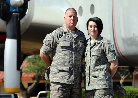 Tech. Sgt. Jeff Fine, Air Force Reserve Individual Mobilization Augmentee and Airman Ashlynd Fine, 944th Aeromedical Staging Squadron medical technician, pose for a photo in 2012. (Courtesy photo)