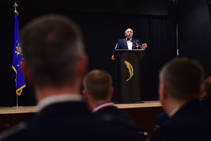 "Former Chief Master Sgt. of the Air Force Frederick J. ""Jim"" Finch speaks during a senior NCO induction ceremony Sept. 23, 2016, Heritage Eagle Bend Golf Course in Aurora, Colo. Finch, the 13th chief master sergeant of the Air Force, spoke to Buckley's newest SNCO's about leadership and making a difference.  (U.S. Air Force photo by Airman 1st Class Gabrielle Spradling/Released)"