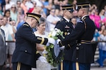 Gen. Mark A. Milley, left, 39th chief of staff of the Army, and Candy Martin, President, American Gold Star Mothers Inc., lay a wreath at the Tomb of the Unknown Soldier in Arlington National Cemetery, Sept. 25, 2016, in Arlington, Va. The wreath was laid in honor of the 80th Gold Star Mother's Day. Army photo by Rachel Larue