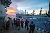 Sailors aboard the Ticonderoga-class guided-missile cruiser USS Chancellorsville (CG 62) conduct a replenishment-at-sea with the Military Sealift Command (MSC) Fleet Replenishment Oiler USNS Rappahannock (T-AO 204) during Valiant Shield, Sept. 20, 2016.  Valiant Shield is a biennial, U.S. only, field-training exercise with a focus on integration of joint training among U.S. forces. This is the sixth exercise in the Valiant Shield series that began in 2006. Chancellorsville is on patrol with Carrier Strike Group Five (CSG 5) in the Philippine Sea supporting security and stability in the Indo-Asia-Pacific region.