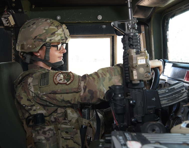 Senior Airman Brianna Ziolkowski, 790th Missile Security Forces Squadron security support team response force leader, drives a Humvee at F.E. Warren Air Force Base, Wyo., Sept. 15, 2016. The 790th MSFS defenders use Humvees to travel to the missile complex. (U.S. Air Force photo by Airman 1st Class Breanna Carter)