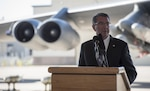 Defense Secretary Ash Carter speaks to troops at Minot Air Force Base, N.D., Sept. 26, 2016. Carter is traveling to North Dakota and New Mexico to highlight the nation's nuclear enterprise, an area of critical importance to the long-term security of the United States. DoD photo by Air Force Tech. Sgt. Brigitte N. Brantley