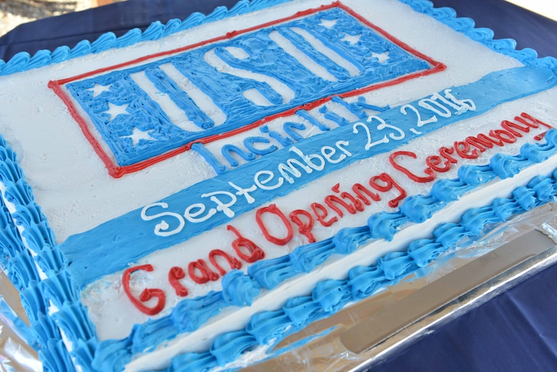 A cake is displayed for the USO Incirlik grand opening ceremony Sept. 23, 2016, at Incirlik Air Base, Turkey. In conjunction with the ceremony, the USO staff and volunteers provided personnel in attendance with cake and a cookout. (U.S. Air Force photo by Senior Airman John Nieves Camacho)