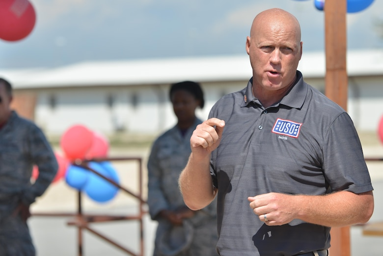 Grant McCormick, Rhein Main Area director, speaks to personnel attending the USO Incirlik grand opening ceremony Sept. 23, 2016, at Incirlik Air Base, Turkey. USO Incirlik provides U.S. and coalition forces a place to come together and relax during their off time. (U.S. Air Force photo by Senior Airman John Nieves Camacho)