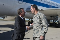 Defense Secretary Ash Carter shakes hands with an airman at Minot Air Force Base, N.D., Sept. 26, 2016. DoD photo by Air Force Tech. Sgt. Brigitte N. Brantley