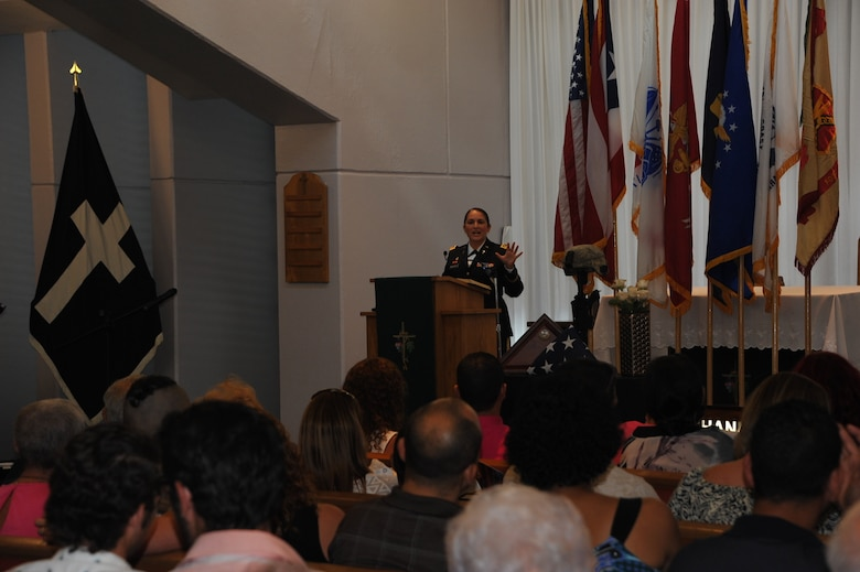 "Maj. Wanda Acevedo, U.S. Army Garrison Fort Buchanan Chaplain, mentioned the importance of three words that will help the surviving families continue with their journey of making the world a better place. ""The reasons of why we are here today are faith, hope and love,"" said Acevedo. ""We must continue to do everything within our power to make the difference in this world just like our loved ones did when they gave the ultimate sacrifice."" Fort Buchanan Chapel, Puerto Rico."