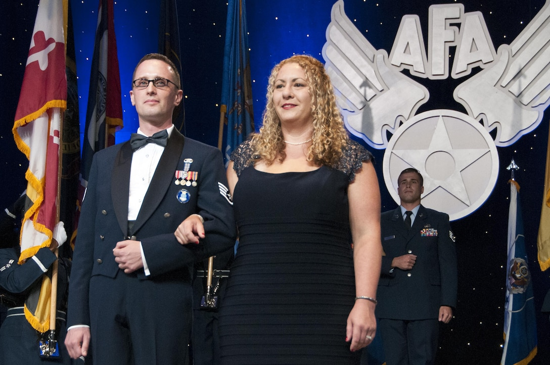 Staff Sgt. Aaron Tobler and his wife, Natalie, at the Air Force Association's recognition banquet honoring the 12 Outstanding Airmen of the Year in Washington, D.C., Sept. 19, 2016.  Tobler is a geospatial intelligence analyst with the 50th Intelligence Squadron, Beale Air Force Base, California.
