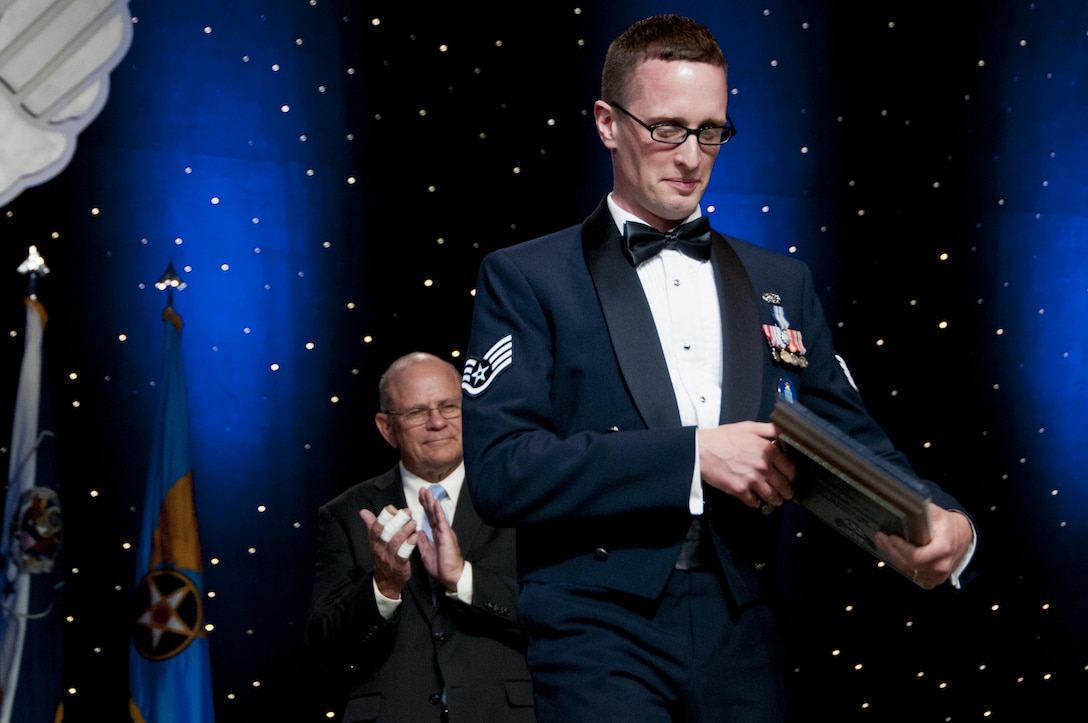 Staff Sgt. Aaron Tobler, one of the Air Force's 12 Outstanding Airmen of the Year, is recognized during the Air Force Association's Air, Space and Cyber Conference in Washington, D.C., Sept. 19, 2016.  Tobler is a geospatial intelligence analyst with the 50th Intelligence Squadron, Beale Air Force Base, California. The 50th IS is a geographically separated unit assigned to the 655th Intelligence Surveillance and Reconnaissance Group, Wright-Patterson Air Force Base, Ohio.