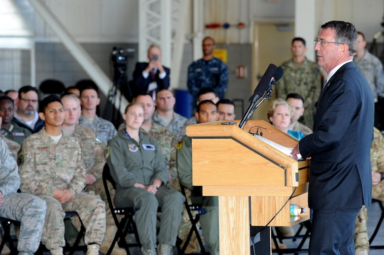 U.S. Secretary of Defense Ashton Carter speaks to Airmen at Minot Air Force Base, N.D., Sept. 26, 2016. Carter toured the base and visited with Airman from both the 5th Bomb Wing and the 91st Missile Wing. The tour included visiting a missile alert facility, a B-52 Stratofortress and a question and answer session with troops and personnel from the base. (U.S. Air Force photo/Senior Airman Kristoffer Kaubisch)