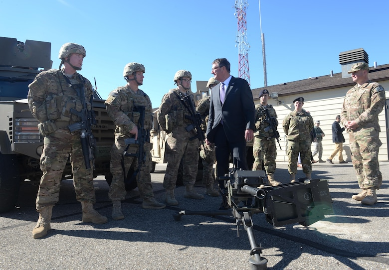 U.S. Secretary of Defense Ashton Carter speaks with Airmen at M-01 Missile Alert Facility, N.D., Sept. 26, 2016. Carter spoke with Airmen from the 5th BW and 91st MW and toured several facilities, to include a missile alert facility and a B-52H Stratofortress static display. To conclude his visit, Carter hosted a question and answer session with base personnel and recognized top performing Airmen. (U.S. Air Force photo/Airman 1st Class Jessica Weissman)