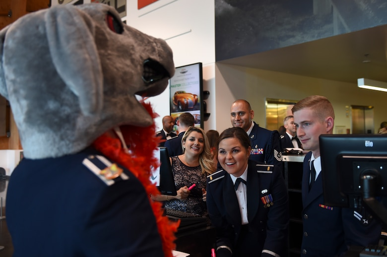 The 4th Airlift Squadron's mascot checks in to the McChord Air Force Ball at the Lemay America's Car Museum in Tacoma, Wash., Sept. 23, 2016. McChord Airmen, civilians and their families honored the tradition and legacy of the United States Air Force with an evening dedicated to those who have served and continue to serve. (U.S. Air Force photo/Staff Sgt. Naomi Shipley)