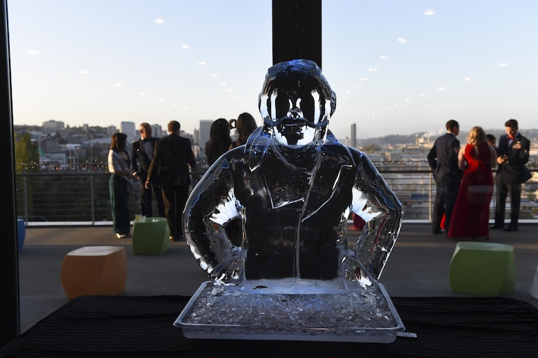 An ice sculpture of a pilot sits on the table inside the Lemay America's Car Museum in Tacoma, Wash., Sept. 23, 2016. Team McChord celebrated the United States Air Force's 69th birthday by continuing in the service's traditions including toasts, the symbolic cutting of the cake and singing the Air Force Song. (U.S. Air Force photo/Staff Sgt. Naomi Shipley)