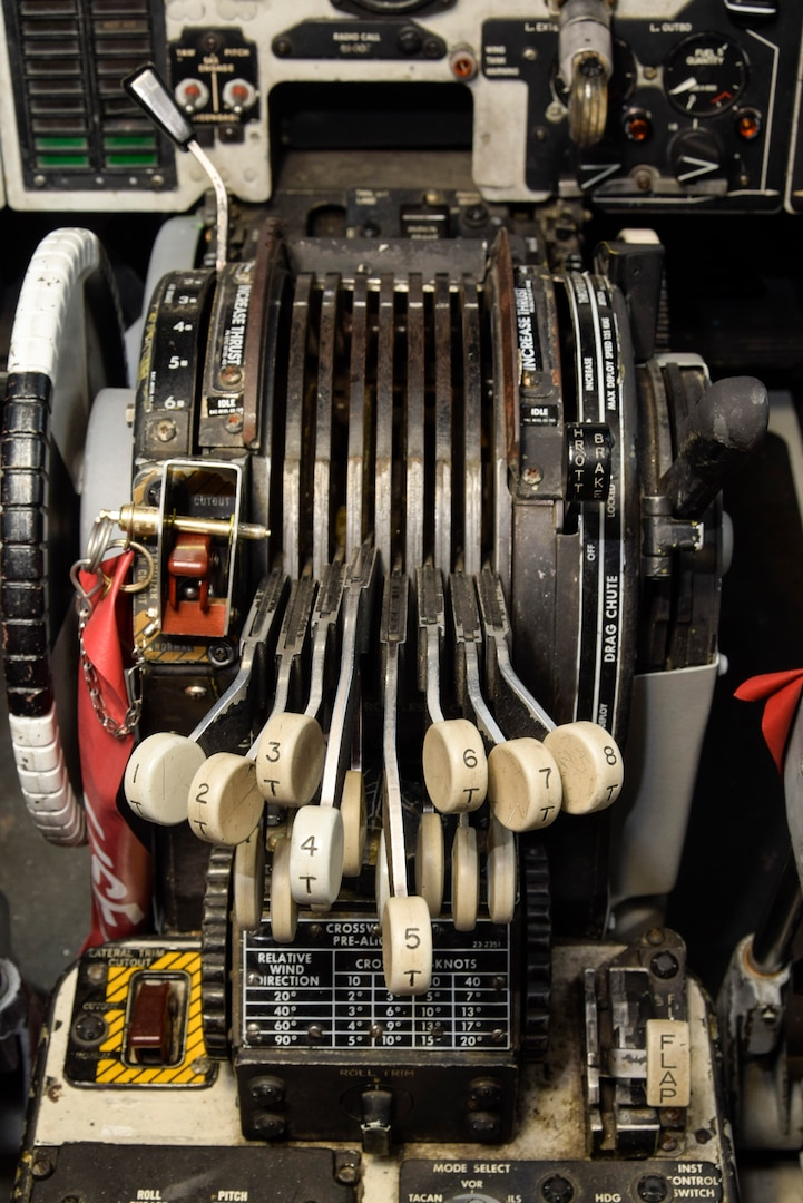 The throttle controls of B-52H 61-0007, 'Ghost Rider,' after overhaul by the Oklahoma City Air Logistics Complex, Okla. Sept. 23, 2016, Tinker Air Force Base, Okla. 'Ghost Rider' is the first B-52H to ever be regenerated from long-term storage with the 309th Aerospace Maintenance and Regeneration Group at Davis-Monthan AFB, Ariz., and returned to fully-operational flying status. (U.S. Air Force photo/Greg L. Davis)