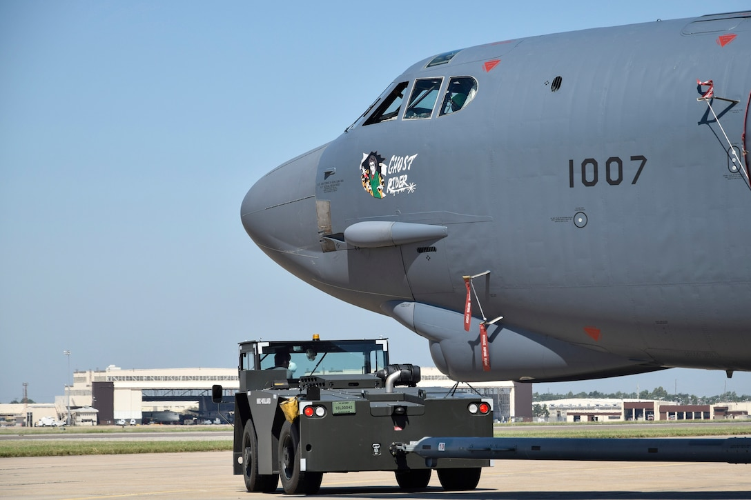 B-52H 61-0007, 'Ghost Rider,' basks in from sun for the first time after being moved from the paint hangar to complete a 19-month overhaul and upgrade by the Oklahoma City Air Logistics Complex, Okla. Sept. 22, 2016, Tinker Air Force Base, Okla. The jet has fresh paint along with a newly applied 'Ghost Rider' nose-art under the cockpit and is the first B-52H to ever be regenerated from long-term storage with the 309th Aerospace Maintenance and Regeneration Group at Davis-Monthan AFB, Ariz., and returned to fully-operational flying status. (U.S. Air Force photo/Greg L. Davis)