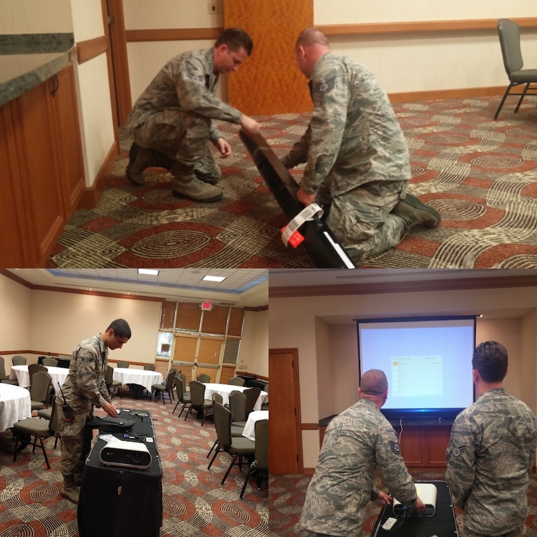Clockwise from top:  Senior Airman Michael Brown, Tech. Sgt. William Reid, Airman First Class Alexander O'Neal go to work setting up audio visual and other information technology support at the Tempe Mission Palms, Tempe, Ariz., in support of the Air National Guard Aviation Resource Management 2016 Training Symposium. (U.S. Air National Guard photo illustration)