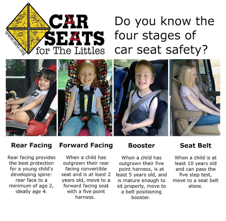 This graphic shows the proper use of the different types of child restraints for cars. (courtesy graphic/ carseatsforthelittles.org)
